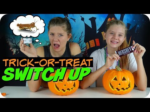 Thumbnail: TRICK OR TREAT SWITCH UP CANDY CHALLENGE || Taylor and Vanessa