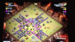 Spelar clash of clans och visar mina attacker från clan war