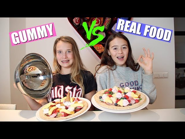 GUMMY FOOD VS REAL FOOD PIZZA CHALLENGE! + GIVEAWAY!