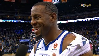 Andre Iguodala Interview After The First Half Of The Game / Warriors vs Blazers