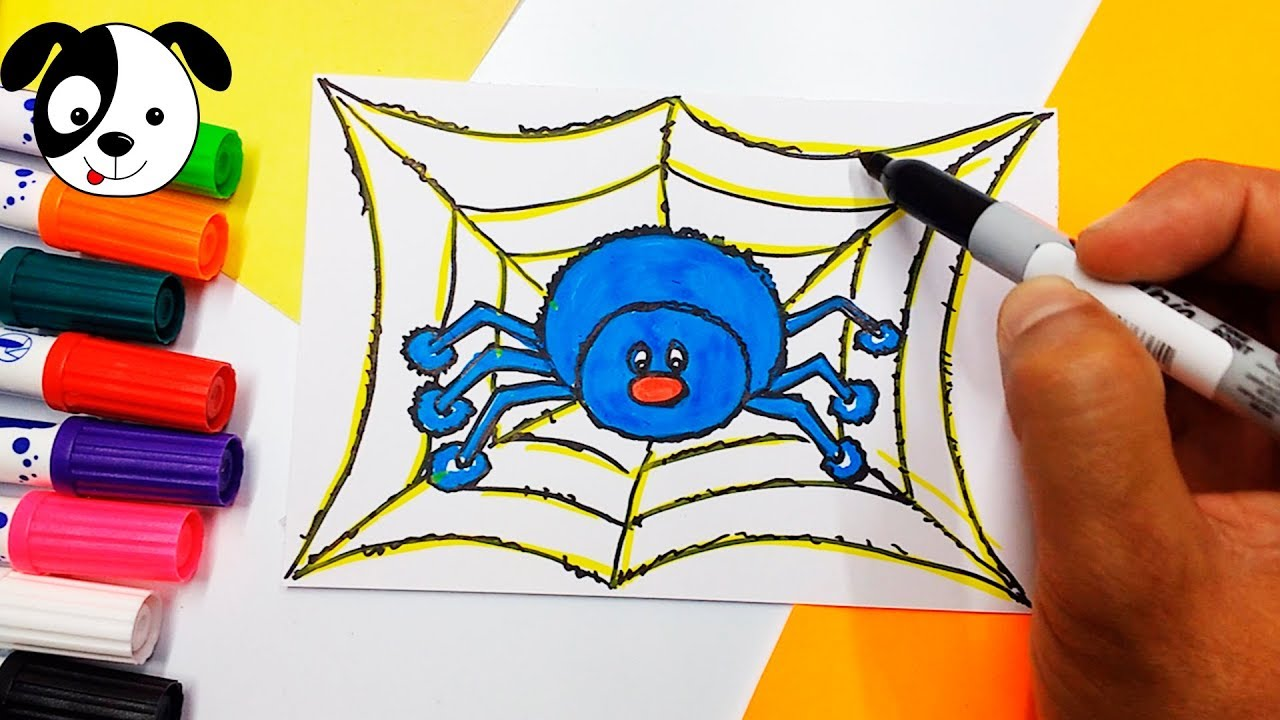 Arañas De Halloween Para Colorear: Cómo Dibujar Y Colorear Araña Halloween Arte Y Dibujo Para