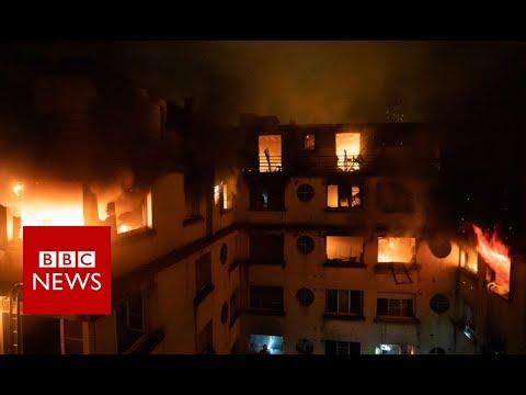 Paris fire: Firefighters tackle blaze - BBC News