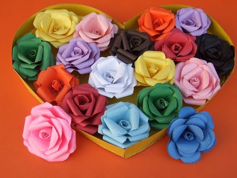 DIY How to make Easy paper Rose  flowers Daily Paper art Queen of DIY crafts