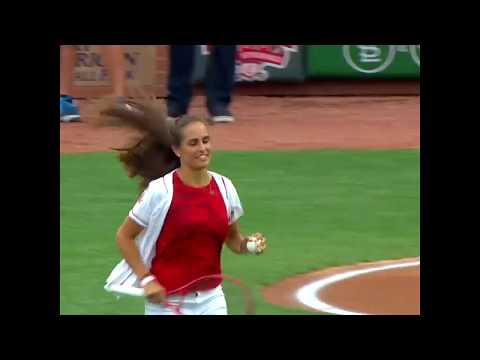 Eddie & Rocky - Tennis Player Monica Puig (Dietrich's Girlfriend) Serves Up First Pitch