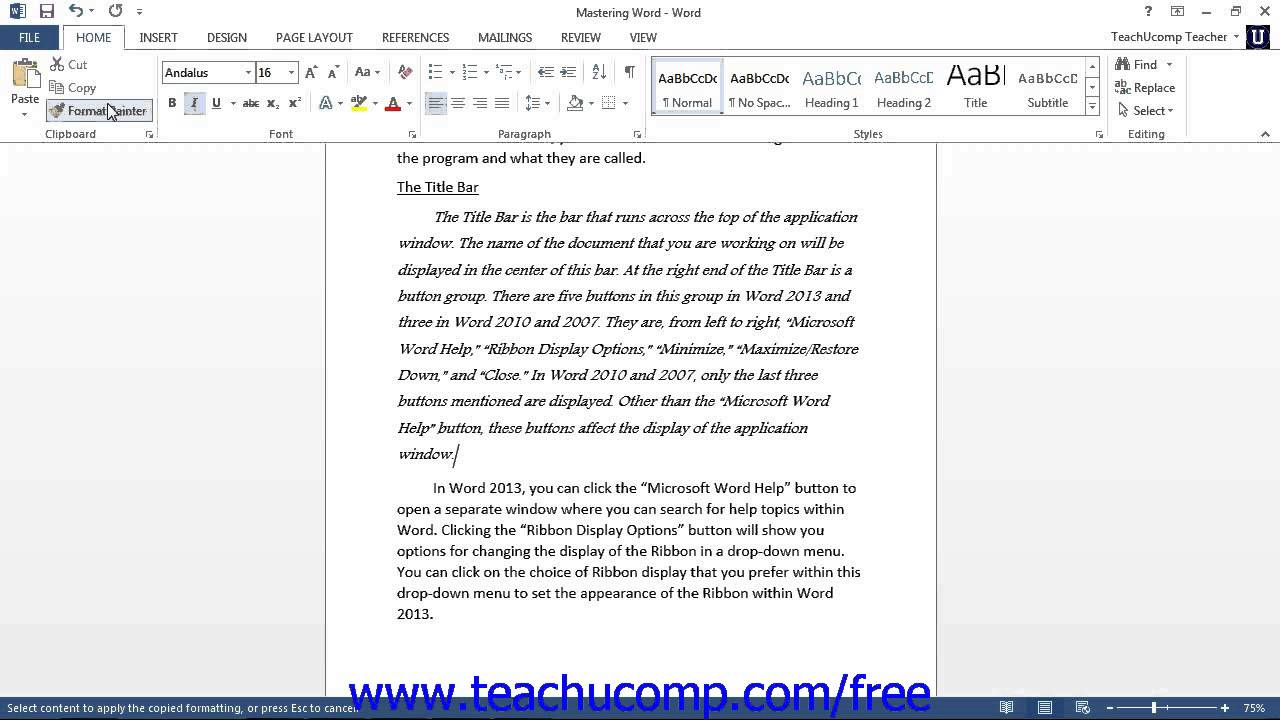 word 2013 tutorial the format painter microsoft training lesson 5 3
