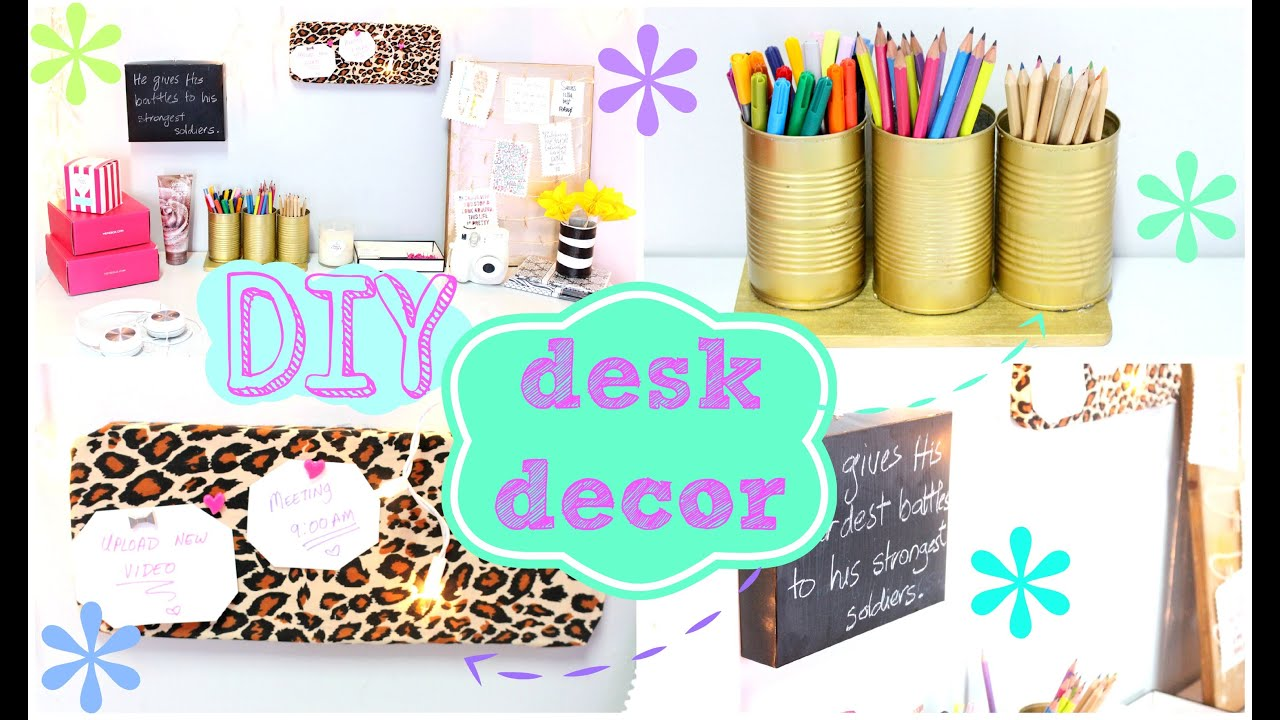 Cute Girly Office Supplies To Diy Desk Decor Easy Inexpensive Youtube