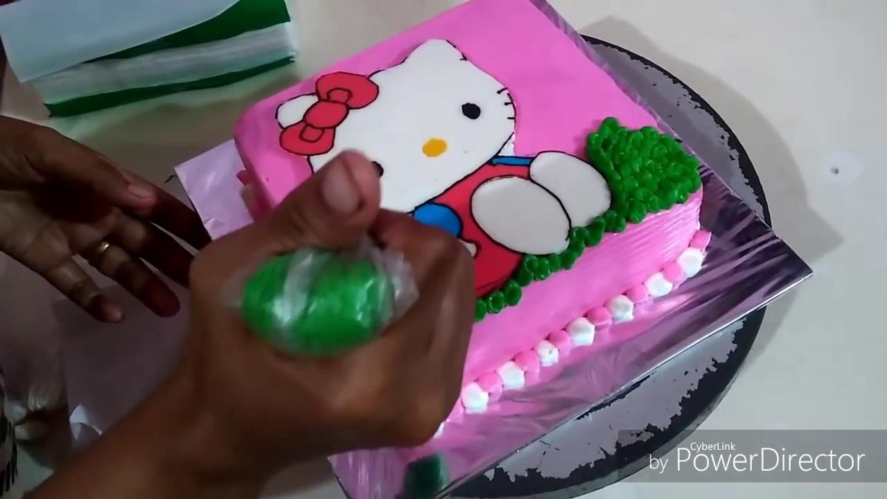 Cara Membuat Kue Ultah Hello Kitty Buttercream Transfer