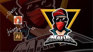 [SpeedArt] esports gaming logo - Sketchbook & Adobe Illustrator