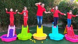 Five kids family like Five Little Monkeys Jumping On The Children's Slides | Kids Song by Chiki-Piki