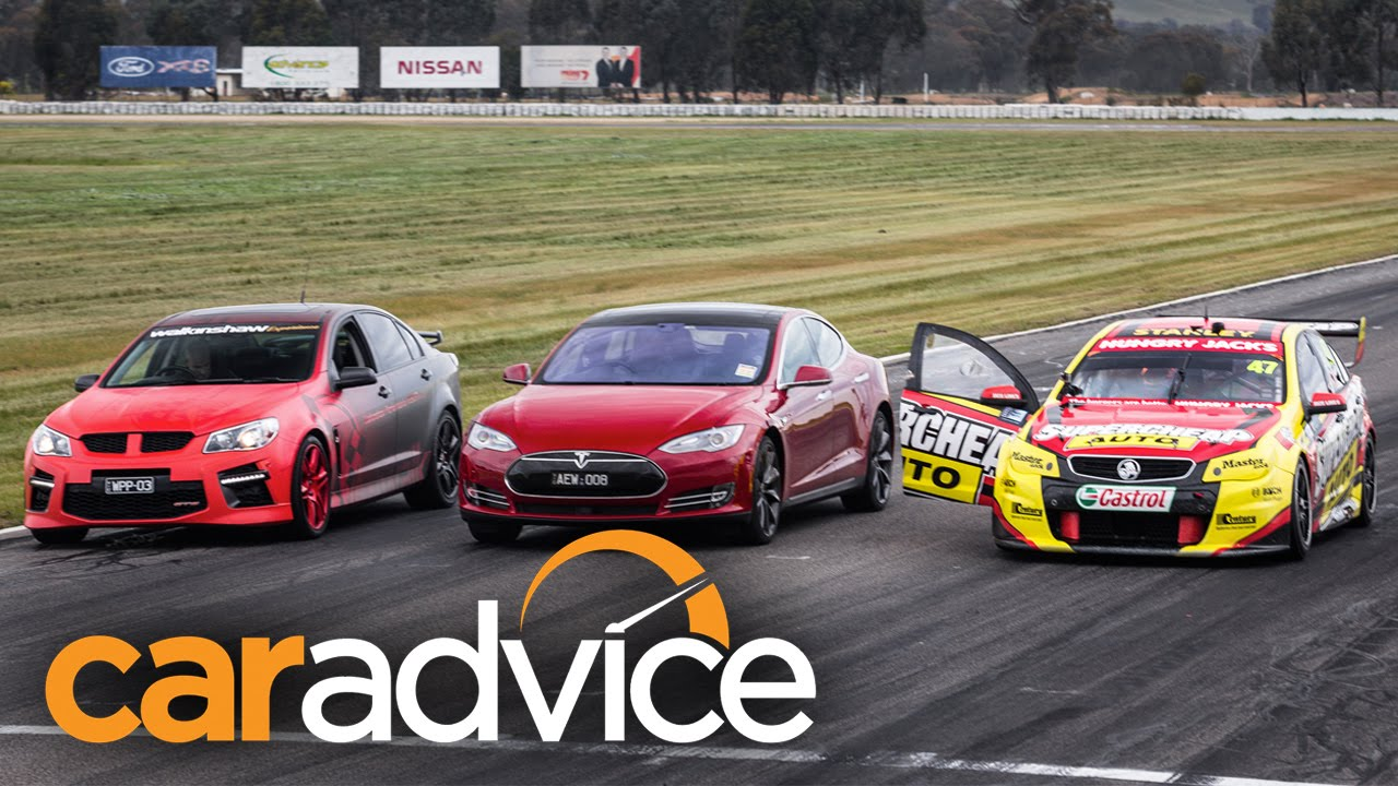 Tesla Model S V Holden Supercar V Walkinshaw Hsv Gts Drag Race