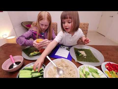 VEGAN KIDS  Eat Dinner With Us Sushi Night Mukbang عرض الأكل