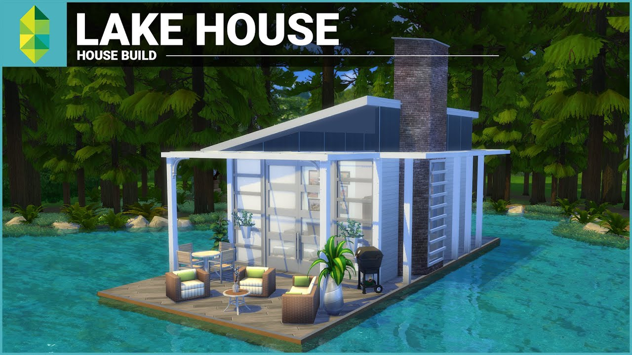 The sims 4 house building lake house tiny 4x6 grid Lakehouse construction