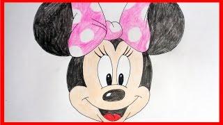 How to draw Minnie Mouse, Как нарисовать Минни Маус