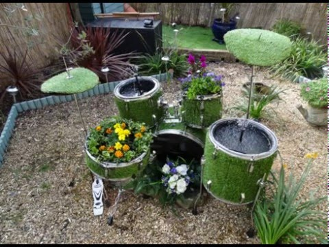 How to turn a Drum kit into a garden water feature