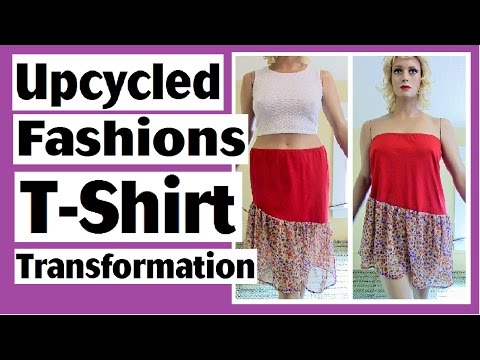 DIY T-Shirt Transformed to Skirt or Top - Upcycled Fashions Ep. 12