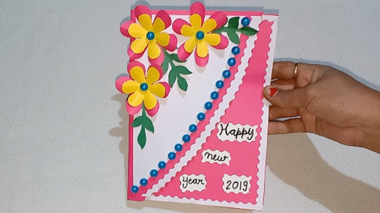 1325 New Year Greeting Card Best Out Of Waste How To Make New Year Card Youtube Teachers Day Card Christmas Greeting Cards Diy Greeting Card Craft
