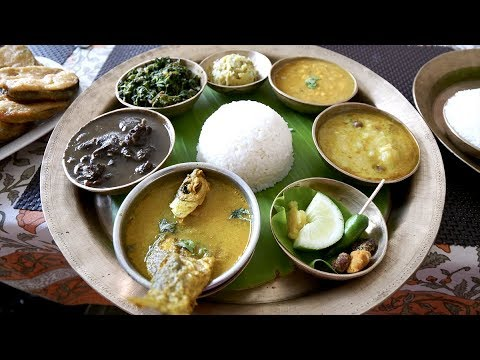 Traditional ASSAMESE THALI with Fish, Pigeon and Mutton + Te
