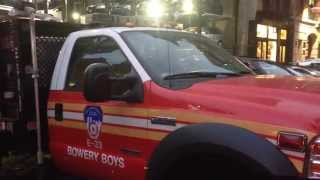 WALK AROUND OF FDNY PURPLE-K UNIT 33 AT ITS GREAT JONES ST. FIREHOUSE IN THE BOWERY, MANHATTAN, NYC.