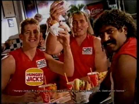 Hungry Jacks ad 1996 with Tony Lockett of the Sydney Swans