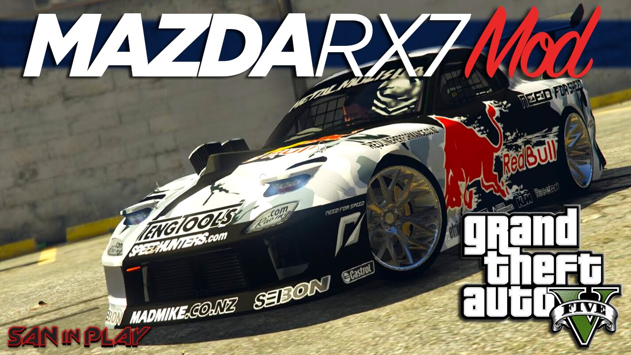 GTA V PC: MOD Mazda RX 7 MadMike + Tutorial!