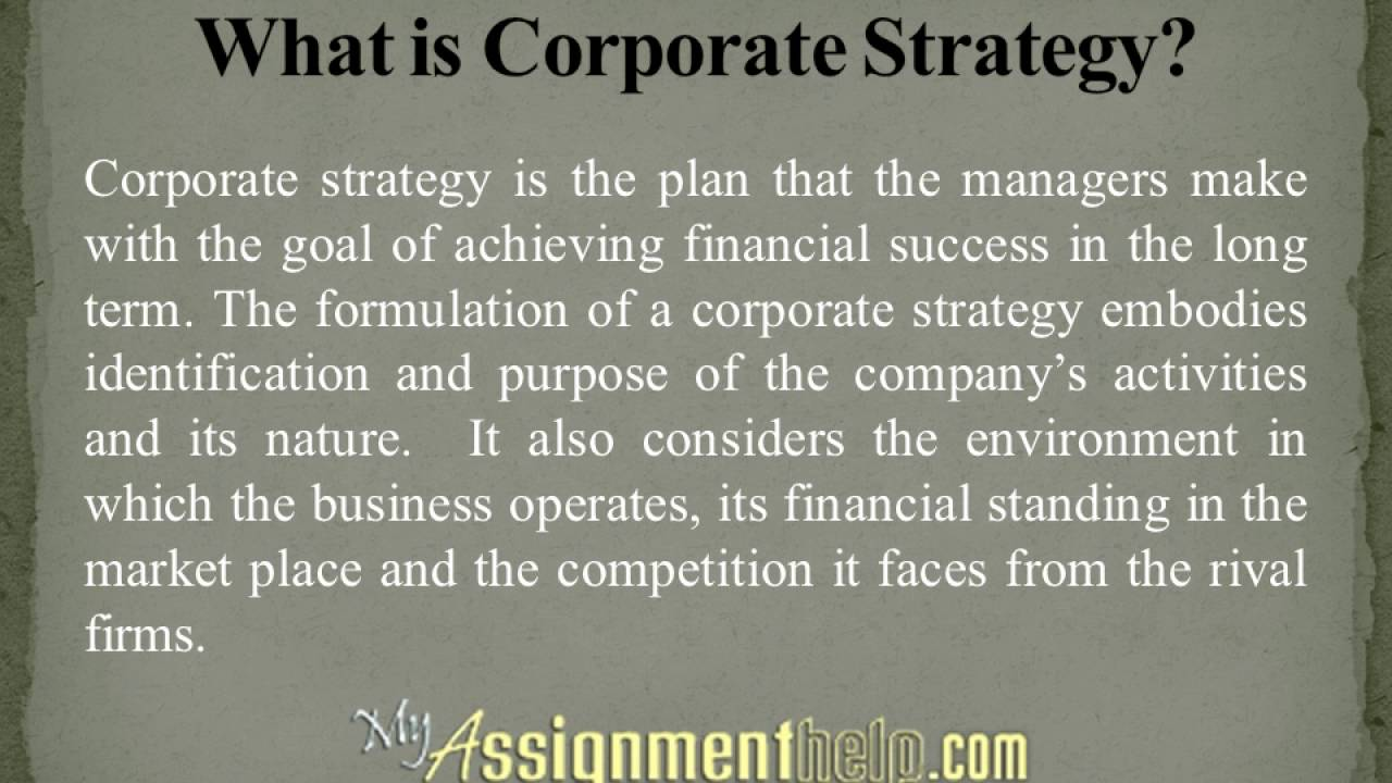 Corporate strategy assignment