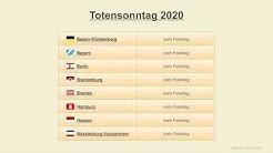 Totensonntag 2020 - Datum - Gedenktage Deutschland 2020