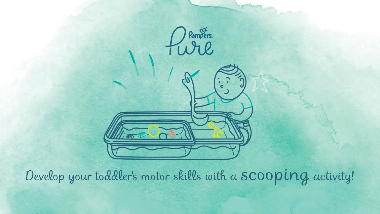 Strengthen your baby's grip and hand-eye -coordination with the Scoop and Transfer activity.