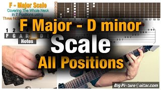 guitar lesson: f major (d minor) scale in 7 positions / modes covering the fretboard