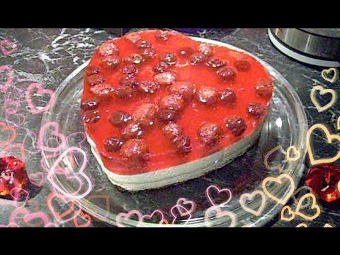 ♥♡ Творожно-желейный торт с ягодами ♥ Сердце ♥ к 14 февраля  (очень лёгкий в приготовлении)♡ ♥