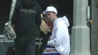 Patrick Schwarzenegger and girlfriend Abby Champion sit down for lunch in Beverly Hills