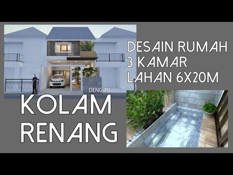 Rumah 3 kamar dengan Kolam Renang di lahan 6x20m2 [kode