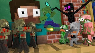 Monster School  Tiny Zombie Apocalypse Challenge - Minecraft Animation