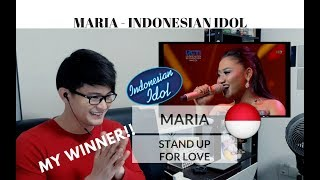 [REACTION] MARIA MY WINNER! Stand Up for Love   Indonesian Idol   #JANGReacts