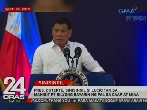 Pres. Duterte, sinisingil si Lucio Tan sa mahigit P7 bilyong bayarin ng PAL sa CAAP at MIAA