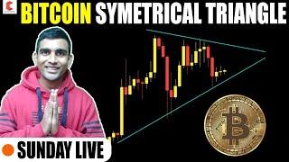 BITCOIN symmetrical traingle, BITCOIN TECHNICAL ANALYSIS , SUNDAY LIVE - CRYPTOVEL