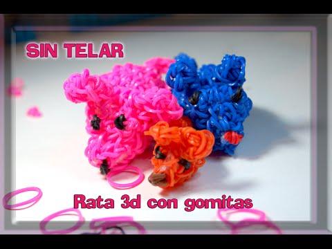 Rainbow Loom Amigurumi Mouse : Rata 3D sin telar/ Crochet/ Rat 3D/ Rainbow Loom ...