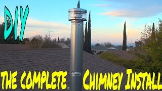 Full Chimney Installation for the wood stove in my shop, how I did it  EP 5 of 7