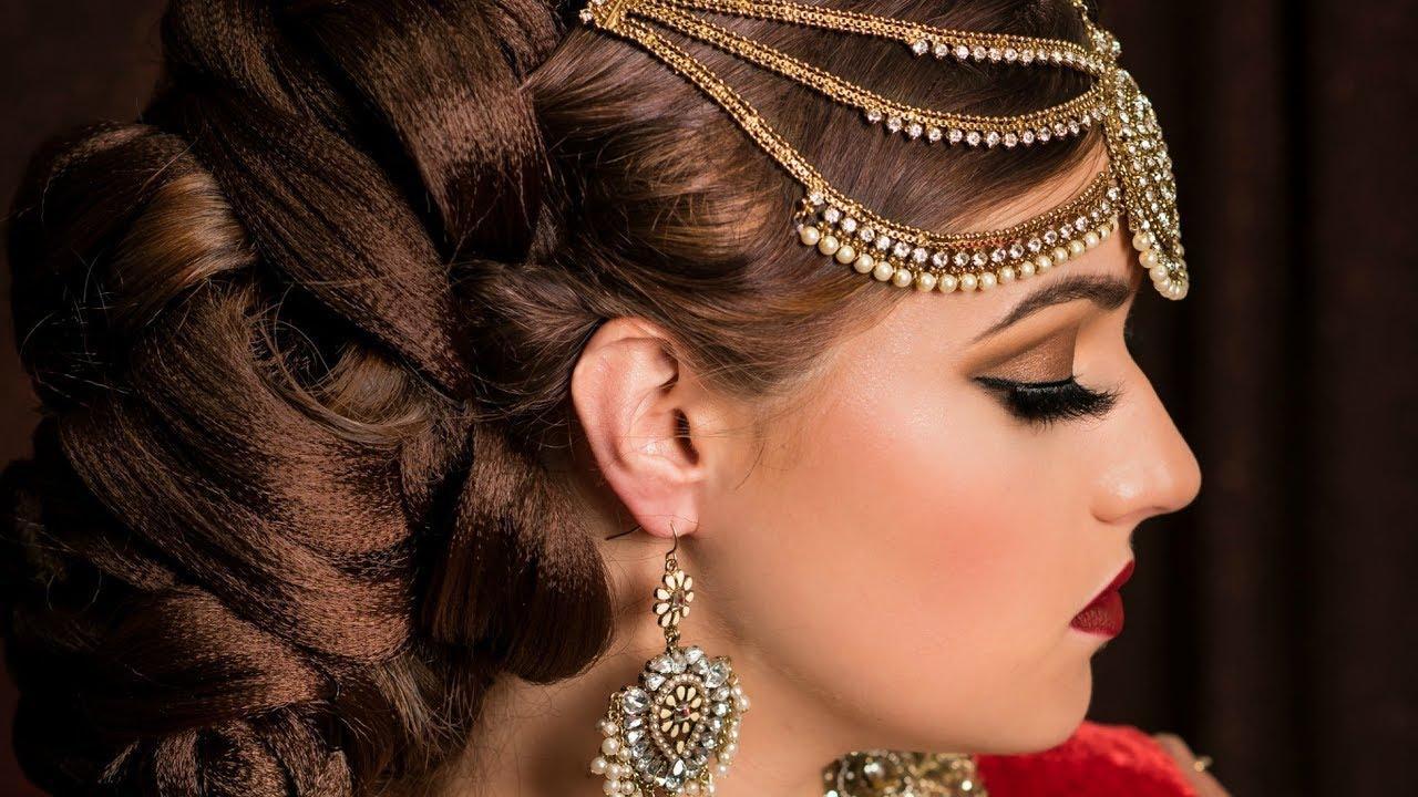 indian / pakistani bridal elegant wedding updo juda for medium long hair style tutorial