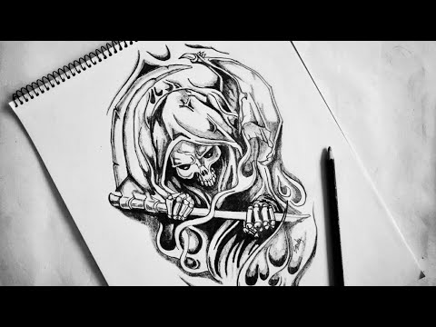 Flaming BAD ASS Grim Reaper | Body Tattoo | How To Draw Grim Reaper Skull Sketch | 2018 Update
