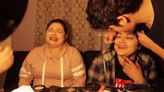 Our brothers do our makeup!