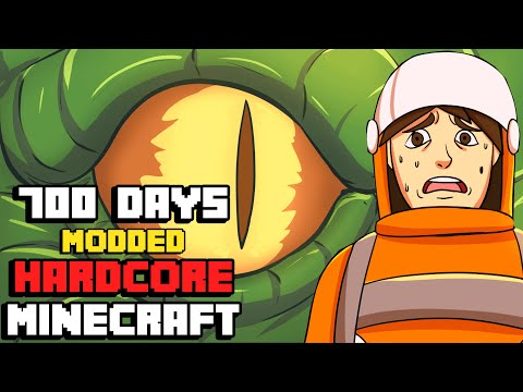 I Survived Hardcore Modded Minecraft For 700 Days using the largest modpack possible