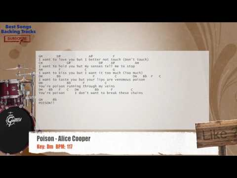 Poison - Alice Cooper Drums Backing Track with chords and lyrics