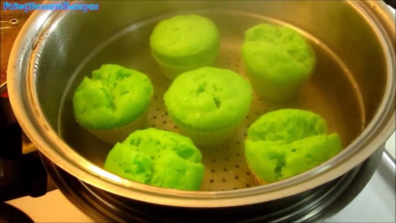 Steamed Pandan Cupcakes - Pinoy Dessert Recipes - YouTube