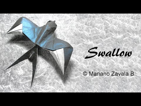 Origami Swallow Tutorial Mariano Zavala B 折り 紙 つばめ