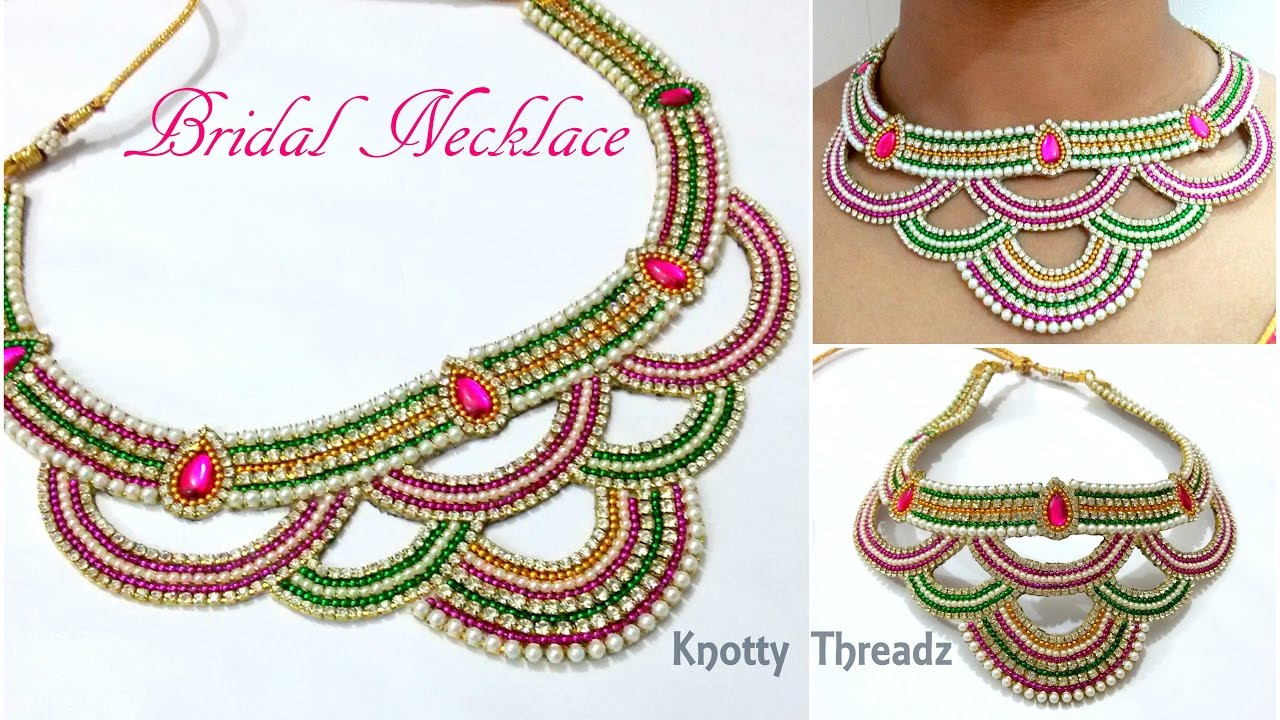 Bridal Jewelry Making of Heavy Bridal Necklace Using Cut Work