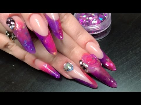 Bling Transparent Pink and Purple Full Look with 3D Flower