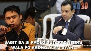 Faeldon binanatan si Trillanes matapos magtanong ng ganito, Pagdawit kay PAOLO DUTERTE