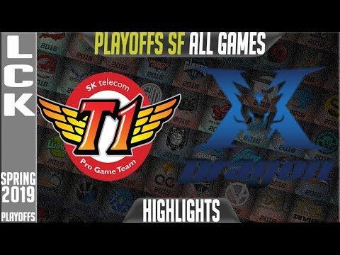 SKT vs KZ Highlights ALL GAMES | LCK Playoffs Semifinals Spring 2019 | SK Telecom T1 vs King Zone
