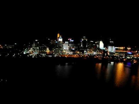 A veiw of the Cincinnati night skyline from the window of our Marriott hotel.