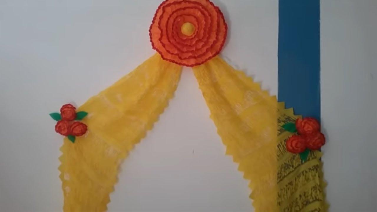 Cortina corte de rebozo en papel crepe curtain cut for Como hacer ganchos para cortinas de bano